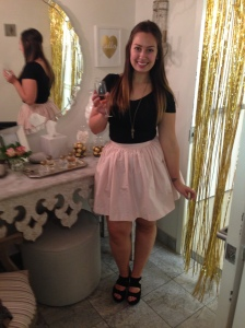 The pink champagne short PARTYSKIRT. Retails for $195