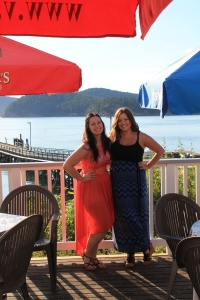 I am wearing my coral hi-lo dress from Miss Selfridge and Karleigh is wearing my black and navy maxi dress from Winners.
